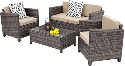 Wisteria Lane Outdoor Patio Furniture Set, 5 Piece Rattan Wicker Sofa  Cushioned With Coffee Table