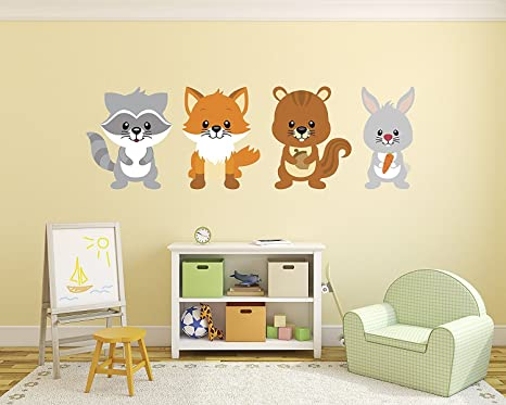 Amazon Com Set Of Foxes Wall Decal Woodland Bedroom Wall Decal Baby Decoration Nursery Wall Decals Fox Bunny Squirrel Decor Vinyl Sticker Home Kitchen