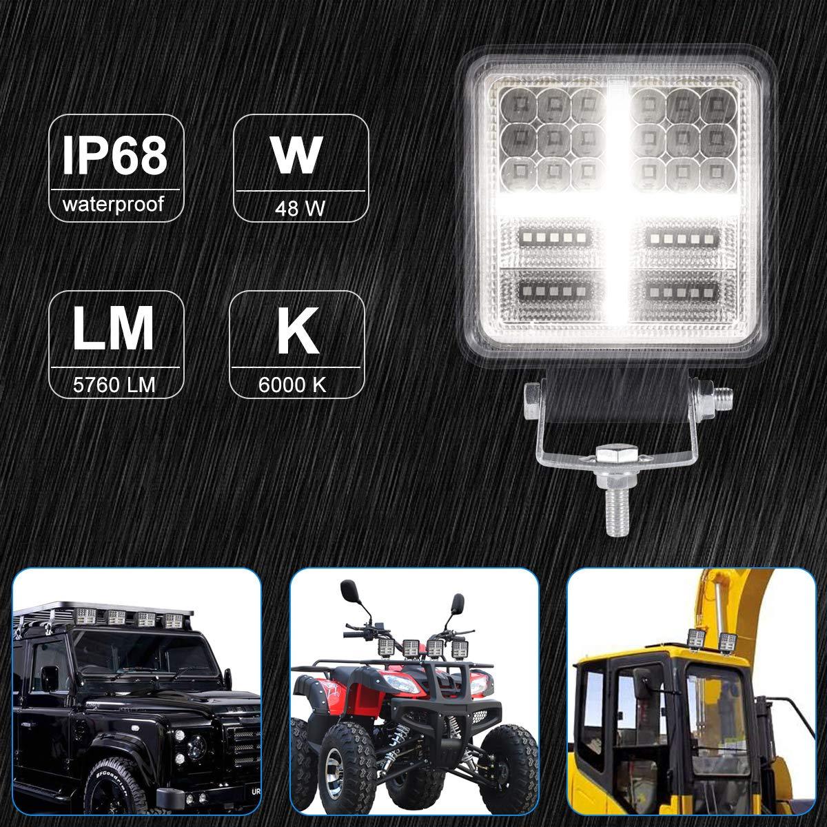HAWEE 48W LED Faro Antiniebla Offroad Faro LED Luz de Trabajo DRL Luces Diurnas Focos LED Luz de Inundaci/ón Impermeable IP68 para Cami/ón Off Road Jeep 4x4s SUV UTV ATV Motocicleta Tractor Barco