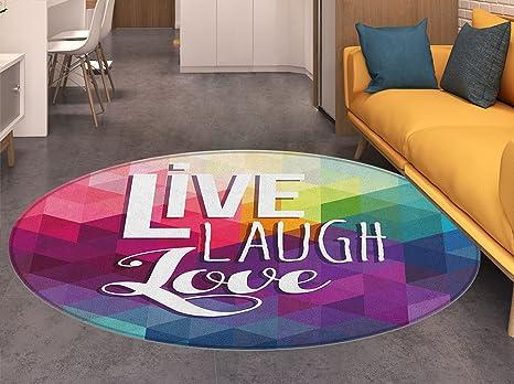 Amazon.com: Live Laugh Love - Alfombra redonda pequeña con ...