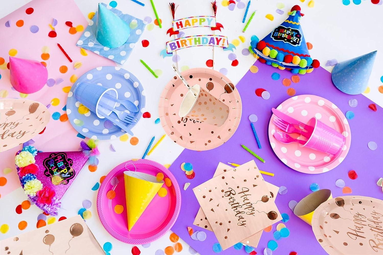 VAINECHAY 30 Invit/és Vaisselles Jetables Anniversaire Rose Gold D/écoration Anniversaire Assiette D/îner Tasse Serviette Papier Paille pour Enfants Party F/ête Mariages Baby Shower No/ël