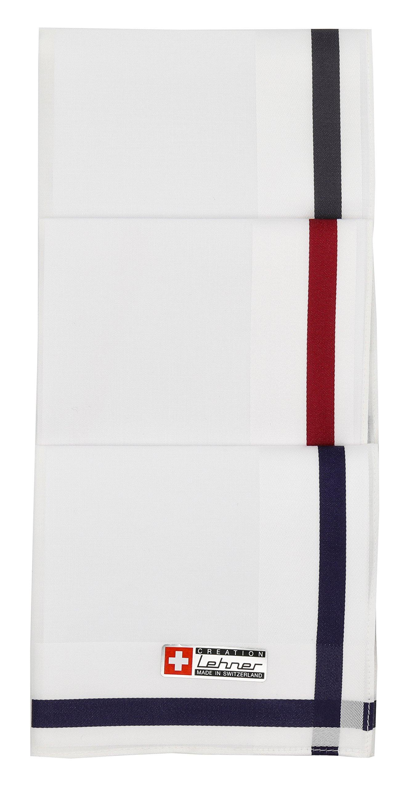 Lehner Switzerland Men's White Fancy Woven Cotton Handkerchiefs (Set of 3) in Red, Blue, Gray