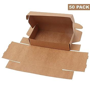 Cajas de Cartón Kraft para Regalos (Pack de 50) - Caja de Regalo (19cm de Largo x ...