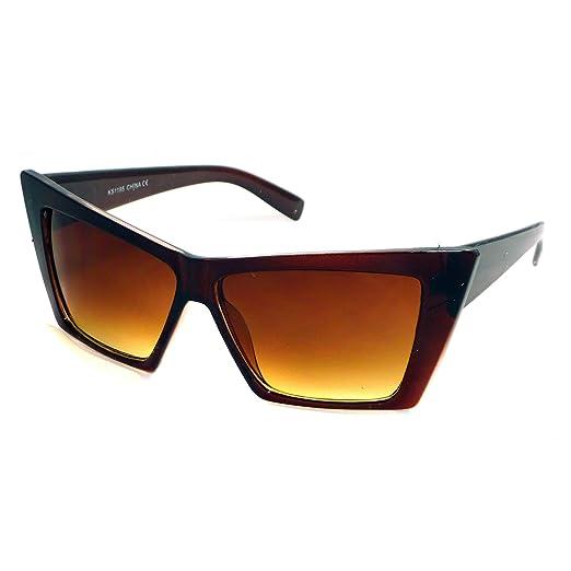 67f78b1681 HIGH Pointed Cat Eye Sunglasses Sharp Geometric Square Frame Cateyes (Brown