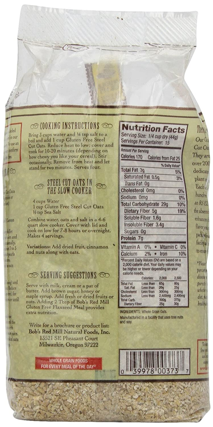 Amazon.com: Bobs Red Mill Steel Cut Oats Gluten Free -- 24 oz Each / Pack of 2: Beauty