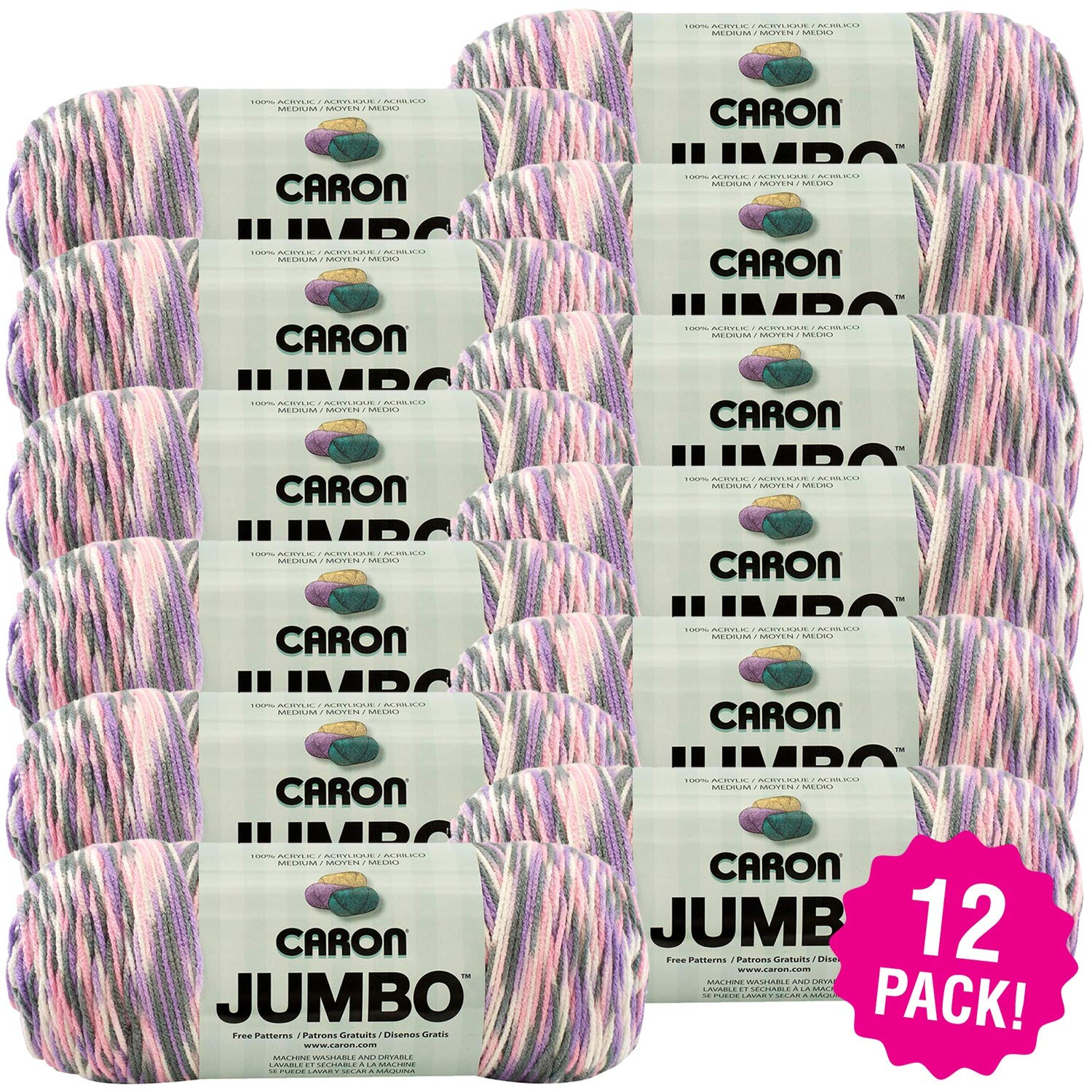 Caron 99574 Jumbo Print Yarn-Easter Basket, Multipack of 12, Pack