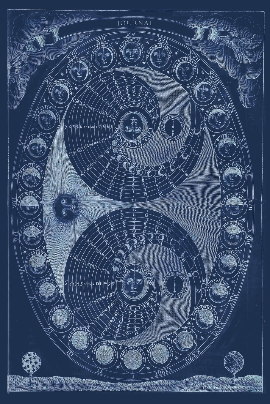 Journal: Vintage Astrology - Phases of the Moon Antique Diagram - Zodiac Sign | 120 Blank Lined 6x9 College Ruled Pages: Volume 2 Vintage Astrology and Zodiac - Designer Notebooks and Journals: