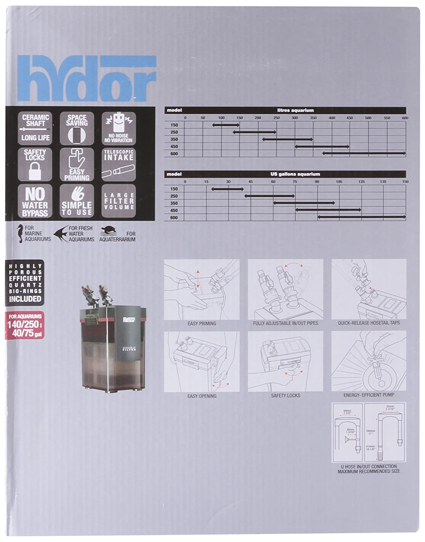Hydor Professional 450 External Canister Filter 75 125 Parts Diagram For Gourmet Single Handle Kitchen Faucet 150 Gal 320 Gph Aquarium Filters Pet Supplies