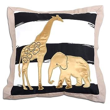 Safari Elephant And Giraffe Decorative Pillow By The Peanut Shell By Amazing Safari Decorative Pillows
