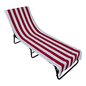 J&M Home Fashions Stripe Beach Lounge Chair Towel with Fitted Top Pocket, 26x82, Red