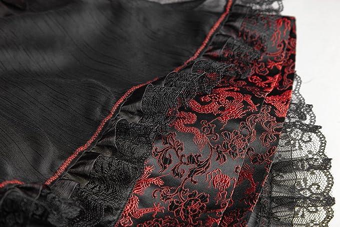 f627fdd239f7 Pyon Pyon Kimono Noir et Cuir Vegan Rouge Inspiration Japonaise avec  Ceinture obi et Noeud  Amazon.fr  Vêtements et accessoires