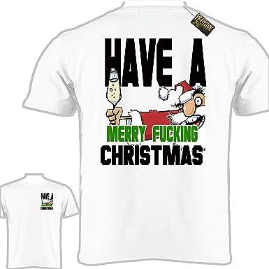 c853e4469c765e Amazon.com  Funny Christmas T-Shirt (Merry F Christmas)  Clothing