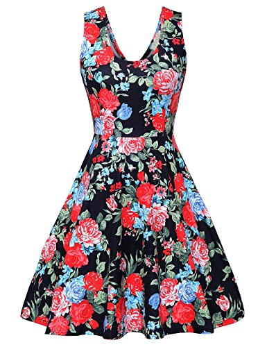 FSOOG Womens Open Back Casual Fit and Flare Floral Sleeveless Dress