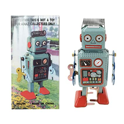 amazon com off the wall toys retro classic wind up robot japan