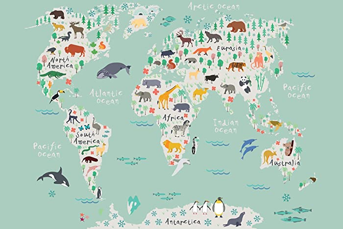 Penguin Map Of The World.Amazon Com Travel Map Of The World Adventure Awaits Watercolor