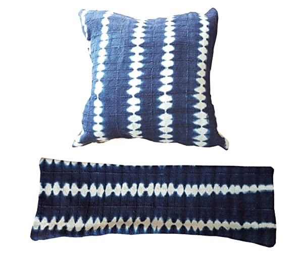 indigo waves african mud cloth pillows