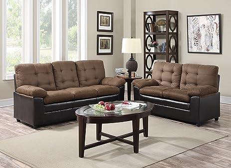 GTU Furniture 2 Tone Microfiber Sofa U0026 Loveseat Set, 5 Colors Available  (Mocha