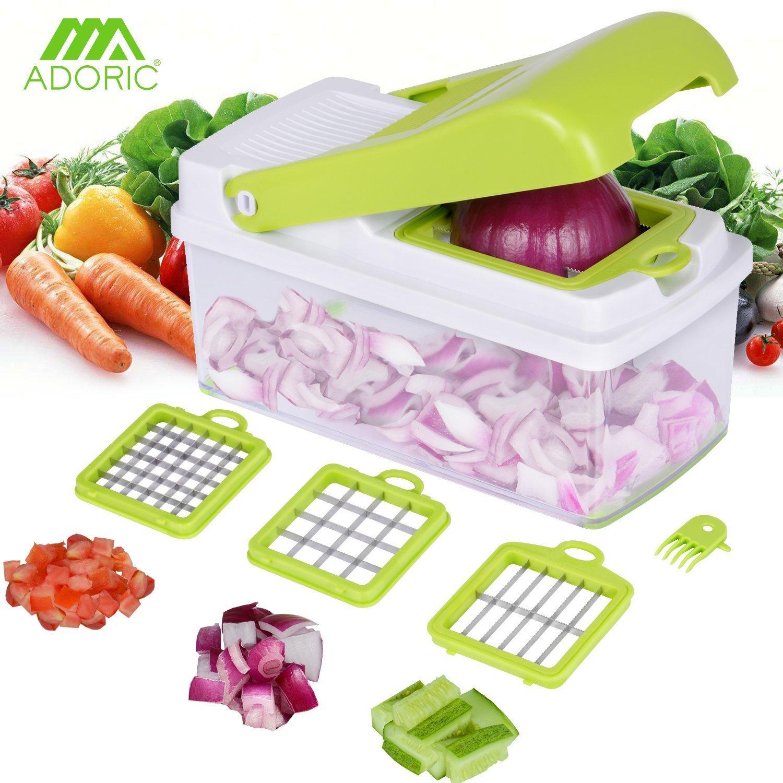 Verdure affettatrice, Adoric affettatrice di cibo,3 lame intercambiabili con contenitore per alimenti e spazzolino per patate pomodoro insalata di frutta Roseny