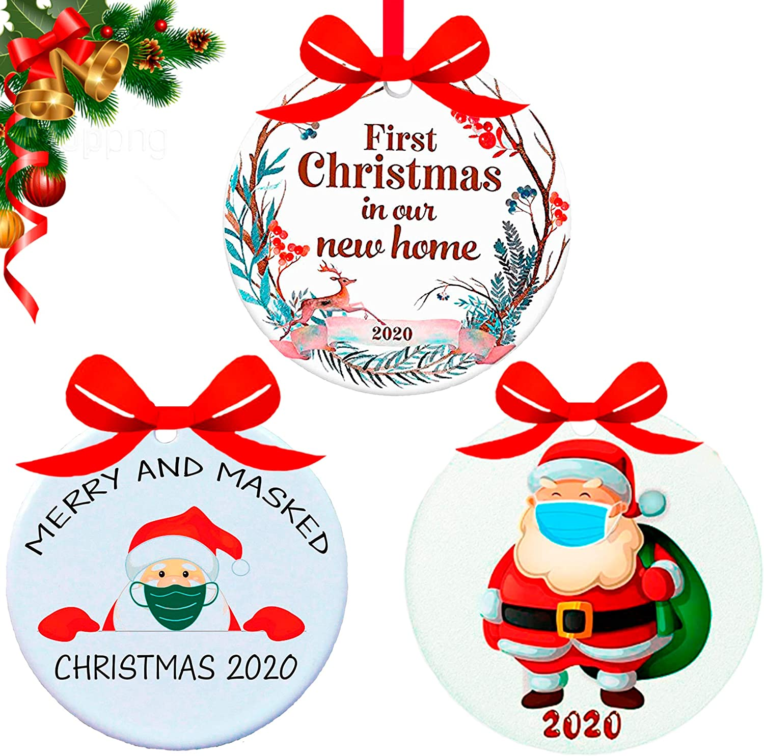 Holysun Set of 3 Christmas Ornaments 2020 | First Christmas in Our New Home | Funny Santa Claus Christmas Ornament | Holiday Xmas Home&Tree Decorations Ornament
