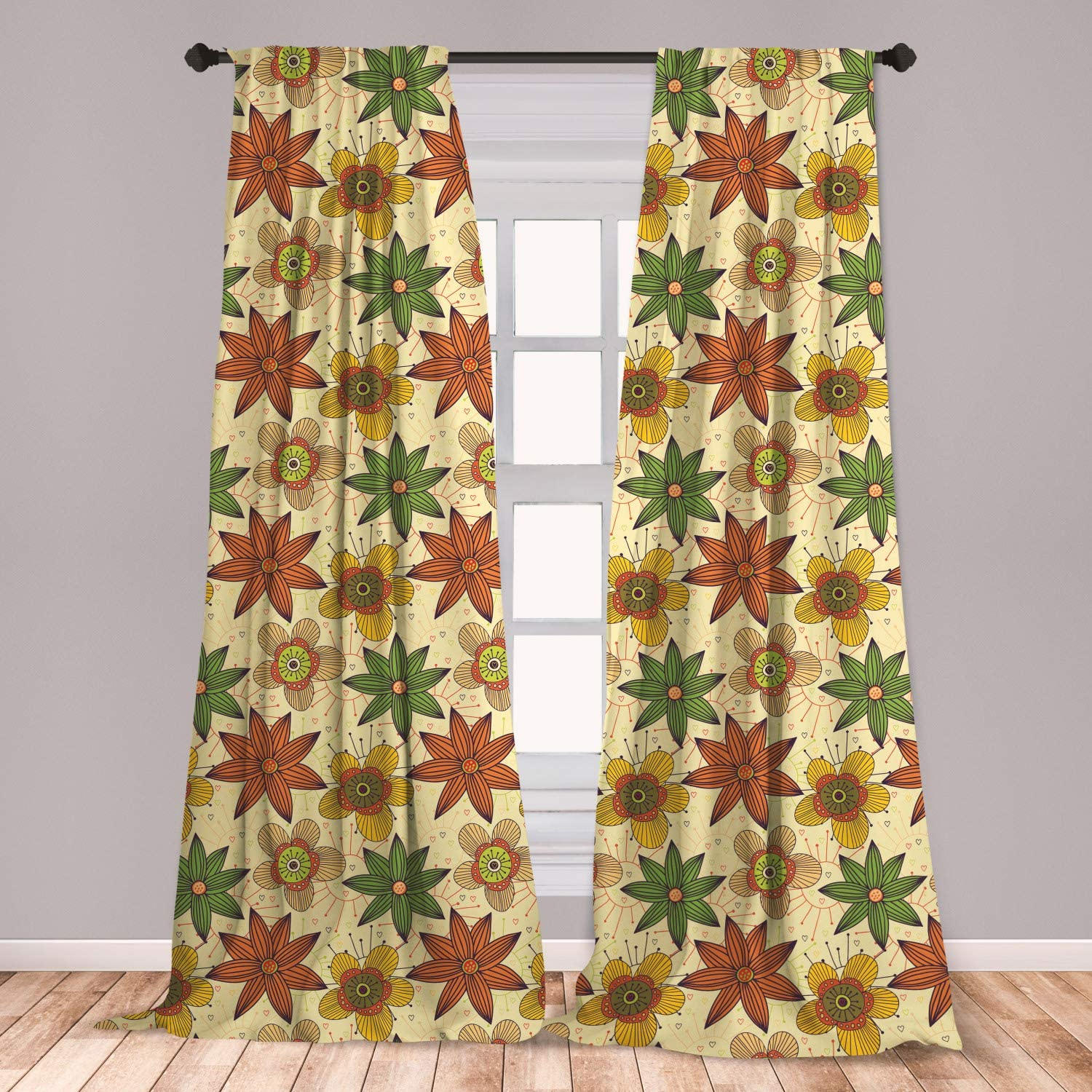 Lunarable Autumn Fall 2 Panel Curtain Set, Floral Arrangement Pattern with Hearts and Sun Background Love Themed Image, Lightweight Window Treatment Living Room Bedroom Decor, 56