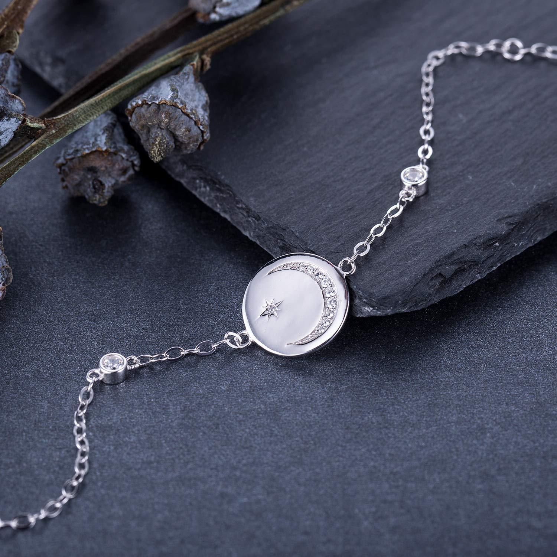 BlingGem Bracelet Femme Argent Ange Gardien Cha/îne en Or Blanc Plaqu/é Argent 925 Bracelet de Charme Zirconium Rond Amour Lune et /étoile Bijoux Cadeau pour Femme