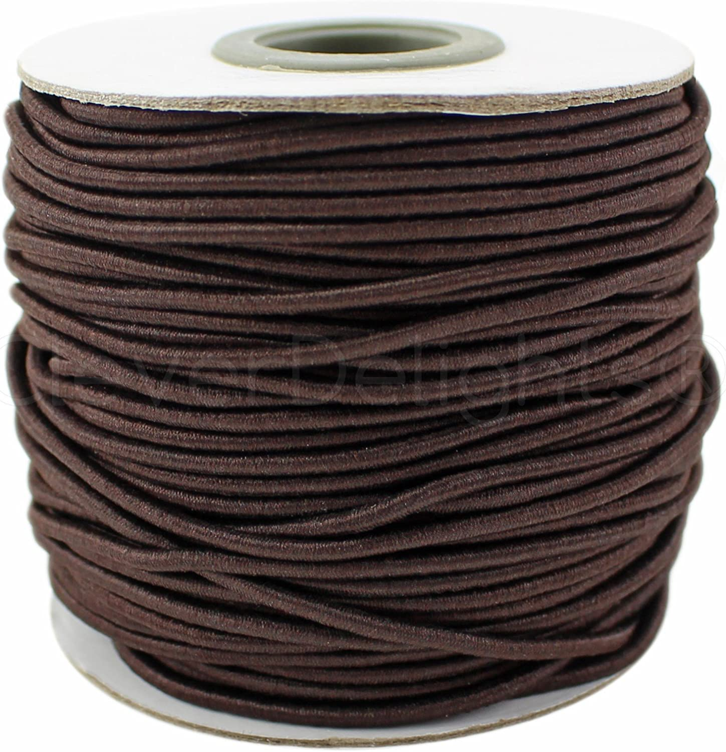 Crafts Beading Jewelry Stretch Shock Cording CleverDelights Brown Fabric Elastic Cord 2mm 10 Yards
