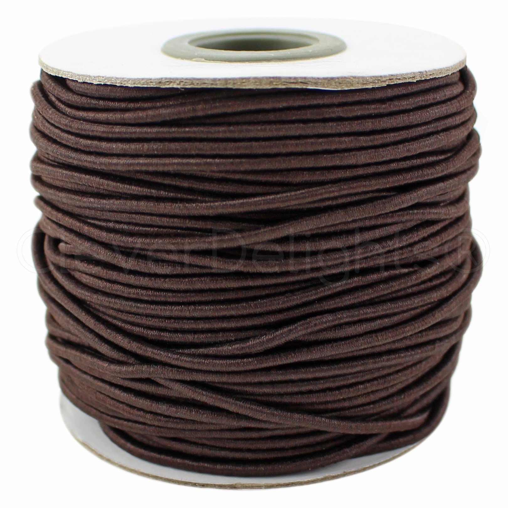 CleverDelights Brown Fabric Elastic Cord - 44 Yards - 2mm - Crafts Beading Jewelry Stretch Shock Cording by CleverDelights