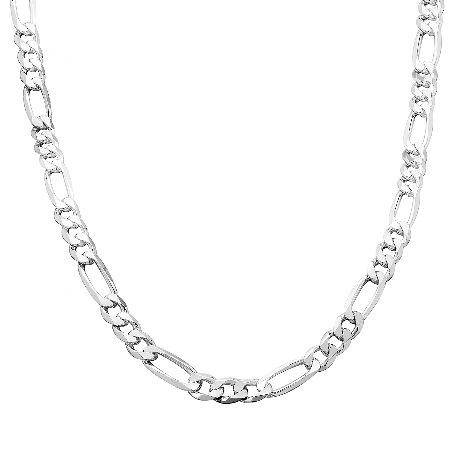 Honolulu Jewelry Company Sterling Silver 4mm 7.5mm Figaro Link Chain Necklace or Bracelet 7.5-28