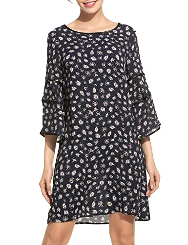 Zeagoo Floral Ruffle Flare Bell Sleeve Casual Short Dress Print Women Summer 3/4 Sleeve Adorable Shi...