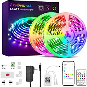 65.6ft LED Strip Lights, LIVINGPAI RGB Color Changing LED Lights for Bedroom with Phone App Control, Remote and Built-in Mic, Music Sync Luces LED Strips for Room Decor, Dorm, Kitchen, Home Decoration