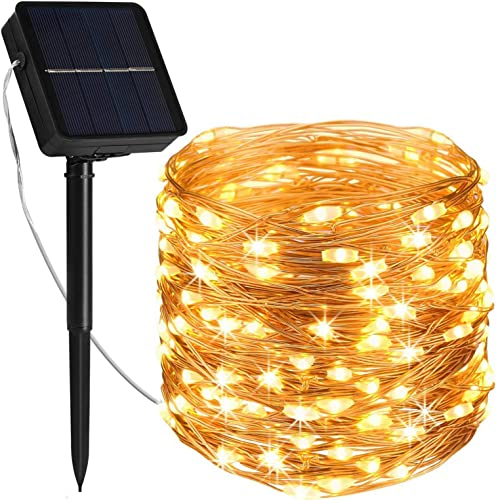 Solar Fairy Lights 78.7FT 240LED Solar Fairy Lights Outdoor Waterproof Led String Lights 8 Modes Copper Wire Lights Decoration for Backyard,Patio,Fence,Garden,Tree,Gazebo Christmas Wedding Party
