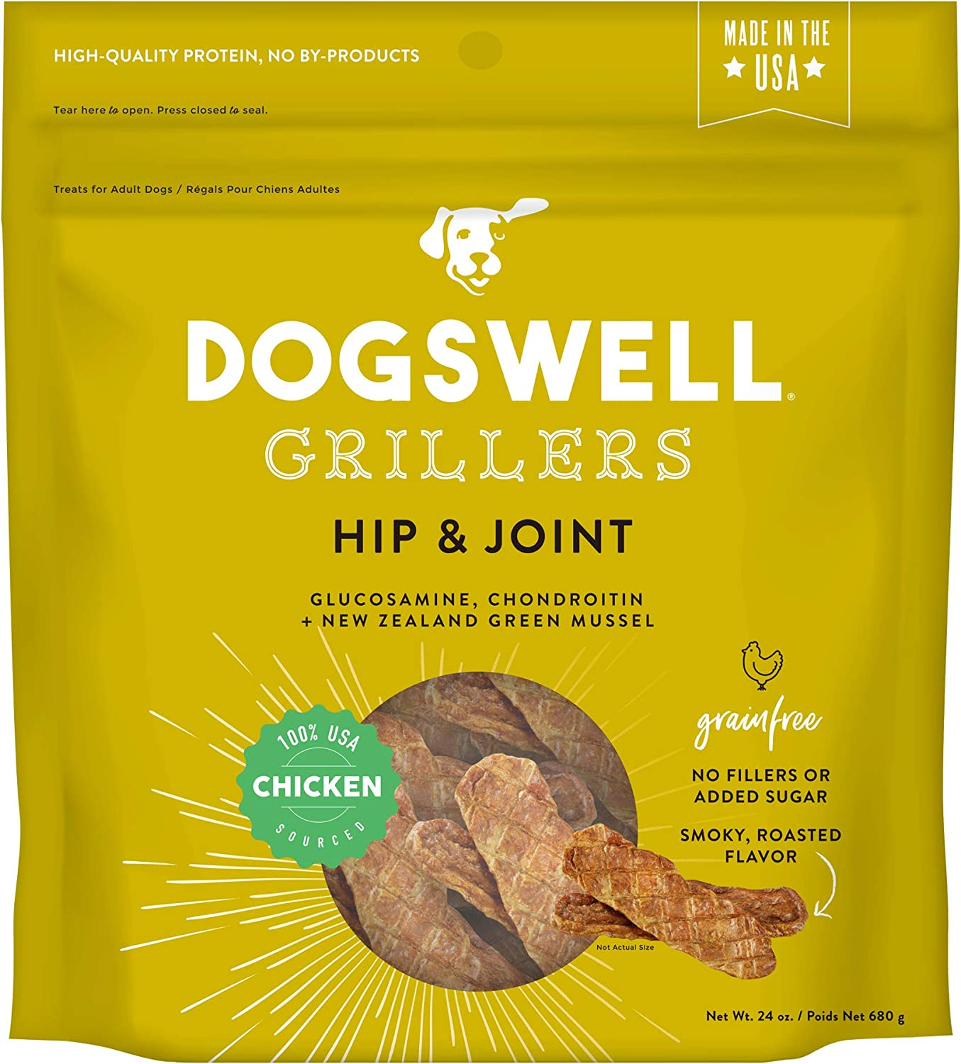 Dogswell 100 Grilled Meat Treats for Dogs, Made in the USA with Glucosamine, Chondroitin New Zealand Green Mussel for Healthy Hips