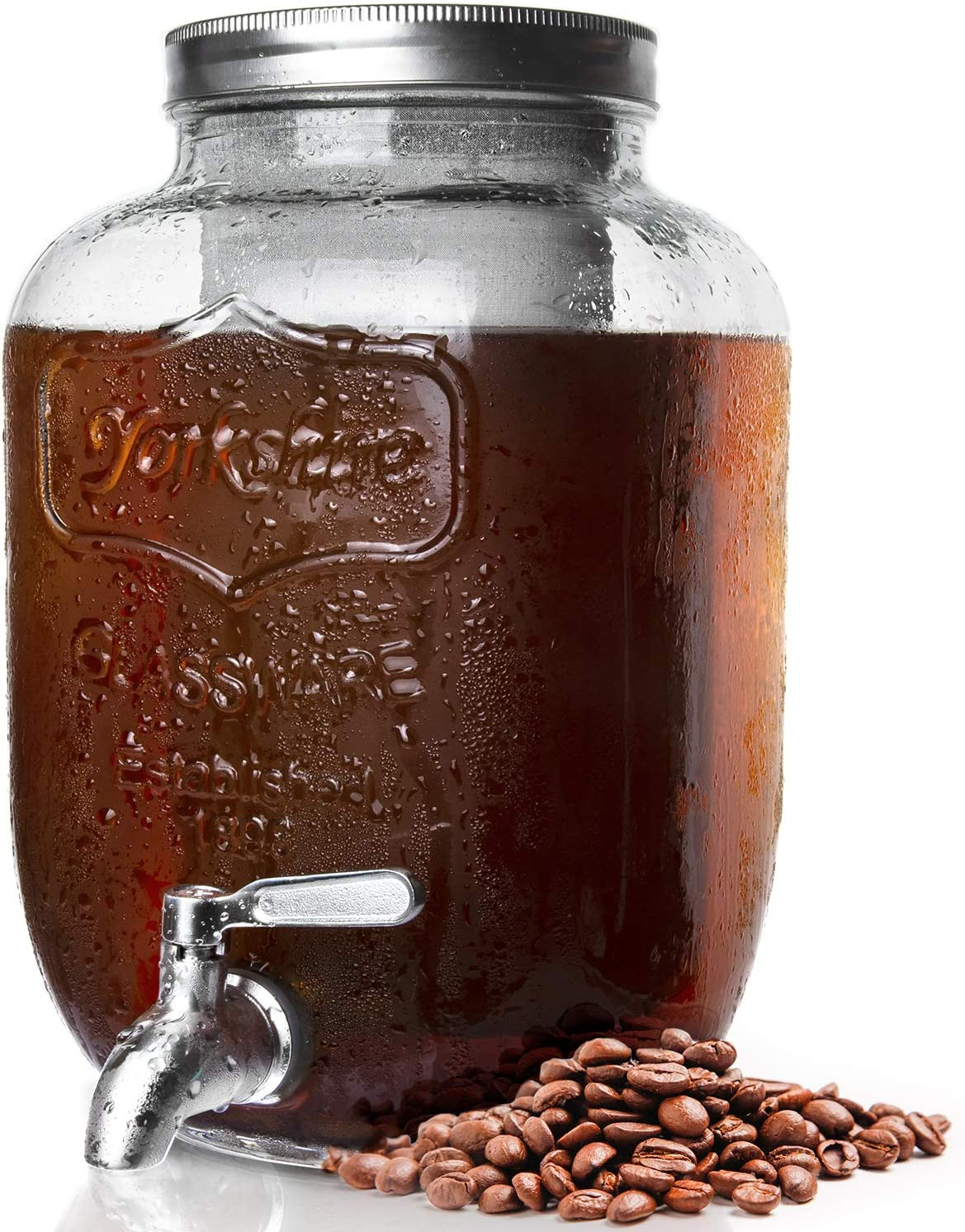 Cold Brew Coffee Maker,1 Gallon Cold-Brew Maker with Stainless Steel Spigot and Removable Mesh Filter,Cold Brew Pitcher with Lid,Extra Thick Gallon Iced Coffee Maker,Large Glass Carafe for Coffee