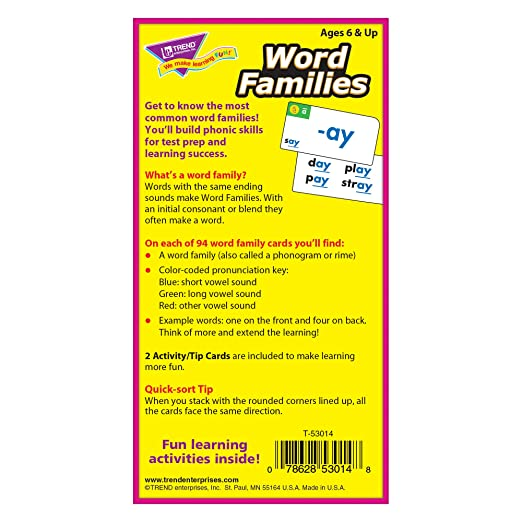 Amazon.com: Word Families Skill Drill Flash Cards, Pack of 96 Card ...