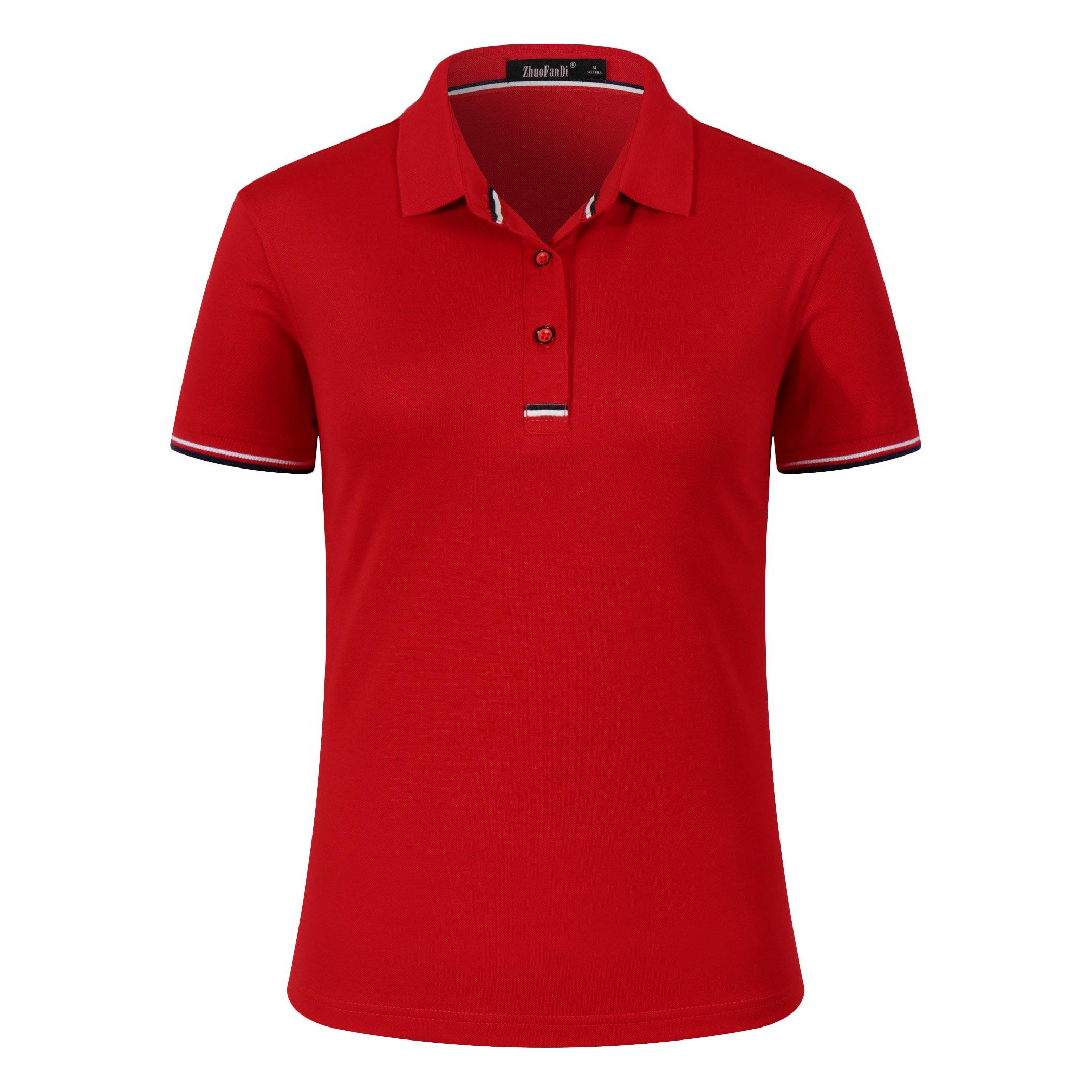 Mitario Femiego Women Classic Striped Collar Slim Fit Short Golf Polo Shirt Red S