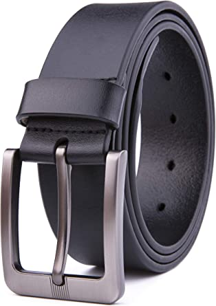 Men/'s Casual Black Brown Dress Leather Belt w// Buckle New Genuine Fashion Design