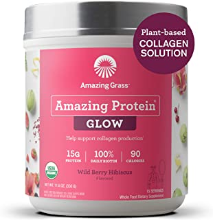 product image for Amazing Grass GLOW Vegan Collagen Support with Biotin and Plant Based Protein Powder, Wild Berry Hibiscus, 15 Servings