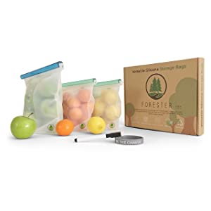 Forester Reusable Silicone Food Storage Bags set of 3 (2x30 Oz) and (1x50 Oz) Non-Plastic, BPA free, Safe for Microwave, Freezer, Boiling Water, Sous-Vide, and Dishwasher.