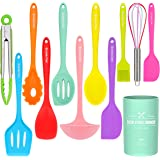 Silicone Cooking Utensils Kitchen Utensil Set-12 Pieces Colorful Kitchen Utensils Cooking Tools Turner Tongs Spatula Spoon fo