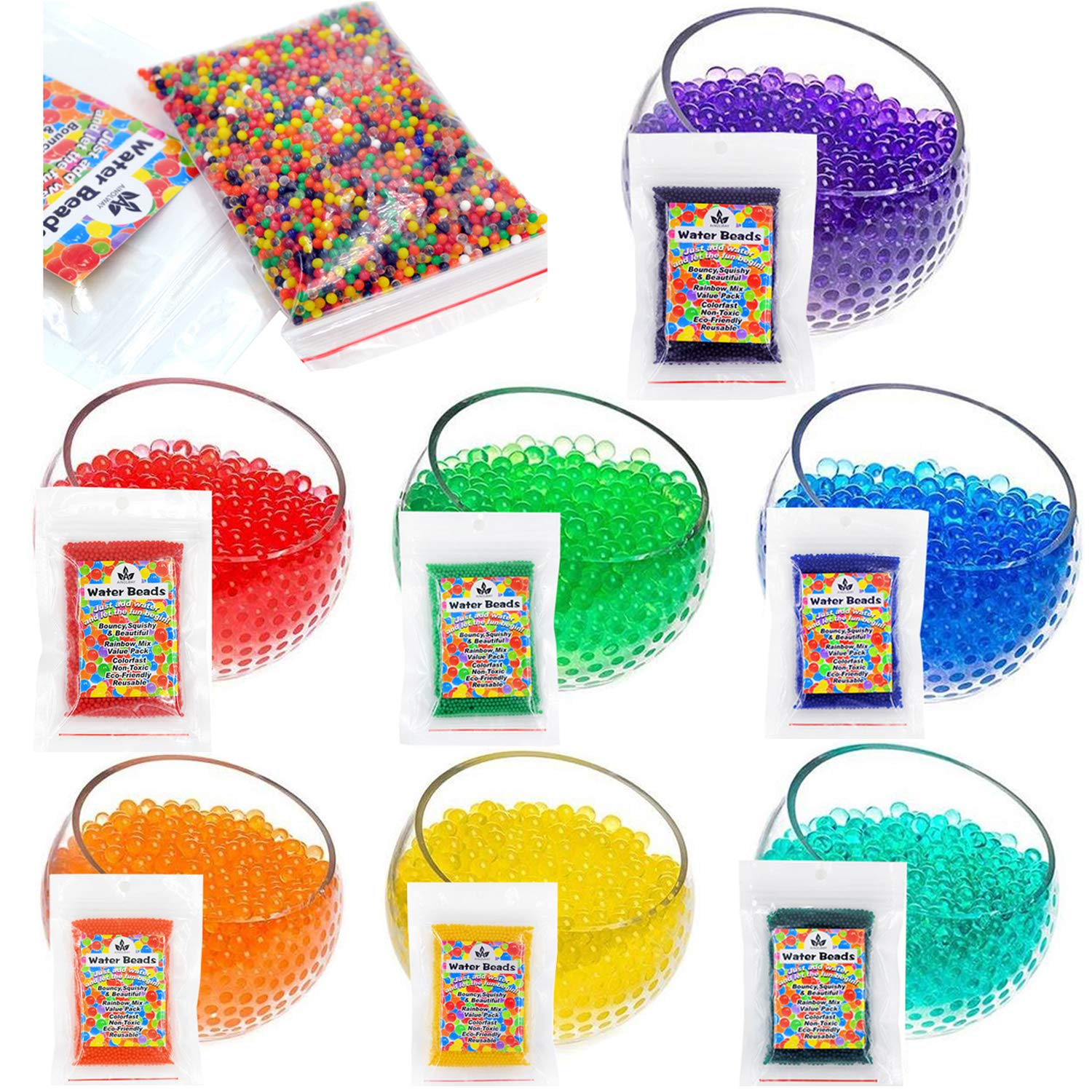 AINOLWAY Water Beads, 30 OZ ( 80,000 Beads) Crystal Water Gel Bead for Kids Sensory Toys, Vase Filler, Home Décor, Transparent Jelly Pearls 9 Pack Water Bead by AINOLWAY