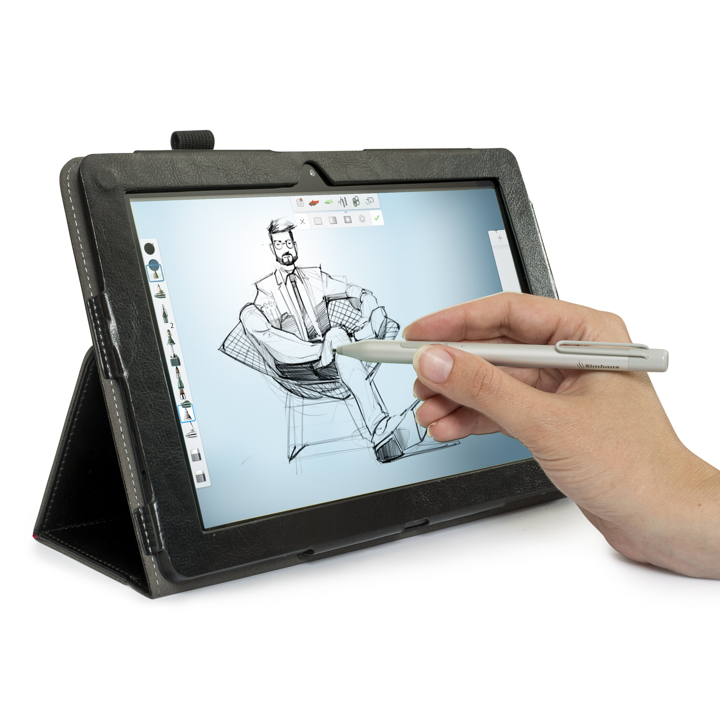 [3 Bonus items] Simbans PicassoTab 10 Inch Tablet 32GB with thin Stylus Pen for Drawing, Notes, Movies, Games, Work- 10'' Android 6.0 Marshmallow Tablet PC Computer 10.1 IPS screen HDMI, GPS, WiFi by Simbans (Image #1)