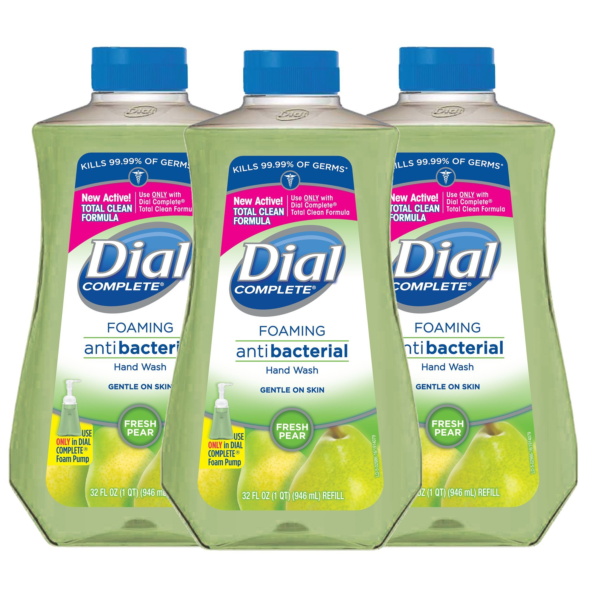 Dial Complete Antibacterial Foaming Hand Soap Refill, Fresh Pear, 32 Fluid Ounces (Pack of 3) by Dial (Image #1)