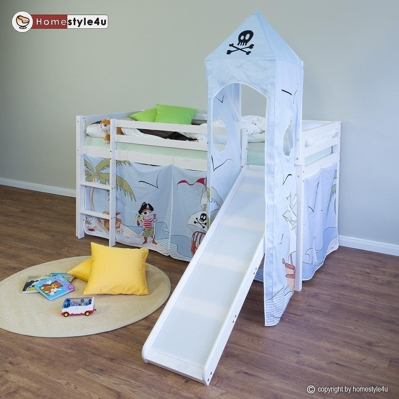 Kinderbett piratenschiff  Homestyle4u Hochbett Spielbett Kinderbett Rutsche Turm Vorhang ...