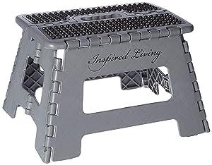 "Inspired Living Folding Step Stool Heavy Duty, 9"" High, GREY ONYX"
