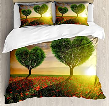 Soefipok Valentinstag Bettbezug Set Mohn Herzformige Baume