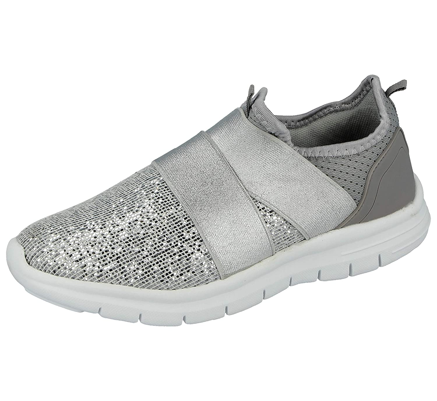 c4d47b4a800 Ladies Kids Girls Glitter Or Mesh Cross Over Elastic Strap Slip On Fashion  Trainers Go Shoes Size 10-8