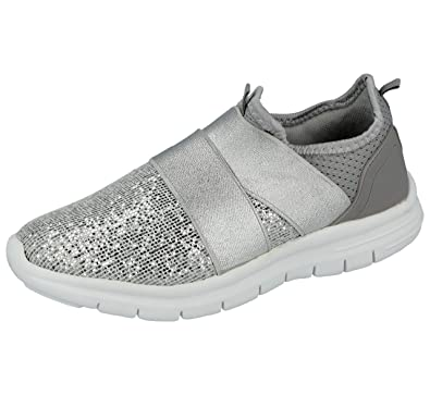 2e93e81096d Ladies Kids Girls Glitter Or Mesh Cross Over Elastic Strap Slip On Fashion  Trainers Go Shoes
