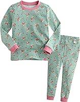 12M-7T Baby Girls 100% Cotton Sleepwear Pajama 2 Pieces Set Rose Garden