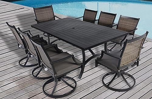 Pebble Lane Living 9pc Palmetto Aluminum and Wicker Swivel Patio Dining Set – Black