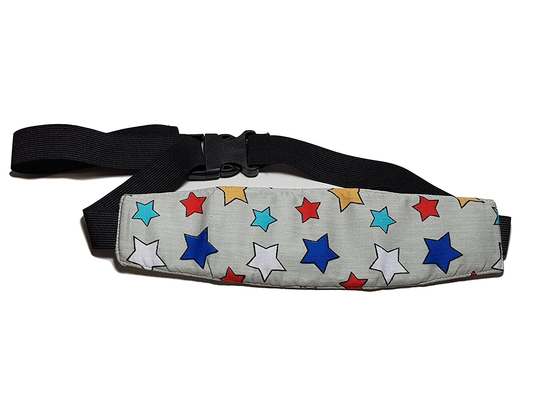 Grey Stars MV Essentials Car Seat Head Strap Band Support Kids Toddler Baby Child Carseat neck Pillow Rest